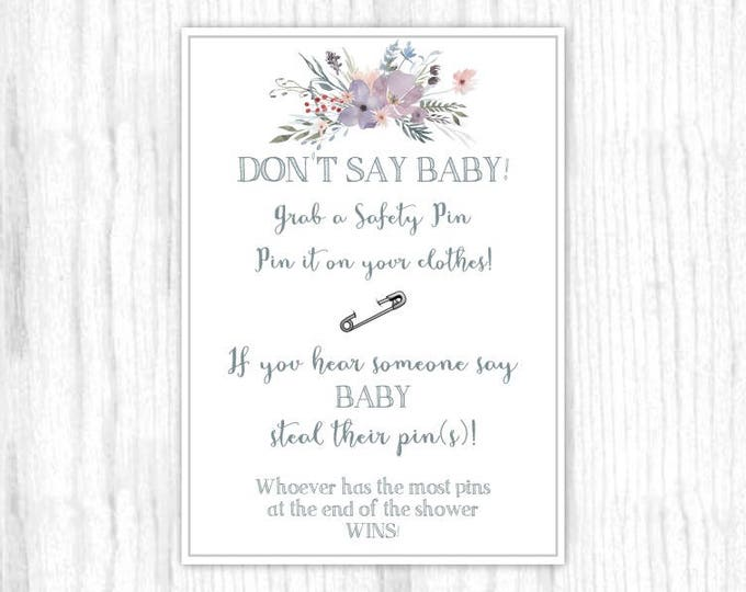 Don't Say Baby game, Printable Party Games, Baby Shower Game - Purple and Gray Watercolor, Floral, 5x7 size