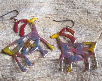 rainbow colors torch fired enamel copper prehistoric antelope earrings