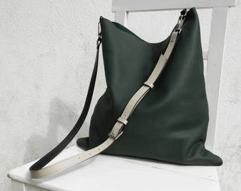 Green Leather Shoulder Bag/Large Leather Slouch Bag/Big Leather Hobo Bag/Dark Green Hobo Bag/ Cross Body Bag/Ready to ship