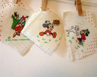 Vintage Disney fabric scraps, Mickey Mouse fabric scraps, Disney cotton fabric, scraps, set of 5