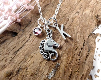 Unicorn Necklace, unicorn jewellery, initial necklace, birthstone necklace, unicorn charm, custom necklace, gift for her, Australian made