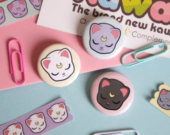 Chic Kawaii similar sailor moon cats style badges pin set, super cute