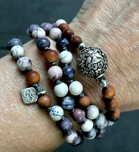 Mala for Protection, 8 Auspicious Symbol, The Parasol Symbol, Matte Porcelain Jasper, Sandalwood, Om Charm, Boho Mala Beads