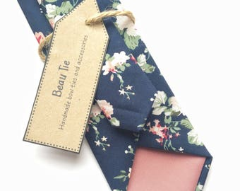 Floral tie, navy blue skinny tie, floral skinny tie, mens skinny tie, wedding tie, men's floral tie