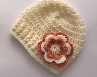 Baby hat, crochet baby hat, baby girl hat, cream and peach, girl winter hat, infant hat, crochet beanie, baby beanie - MADE TO ORDER