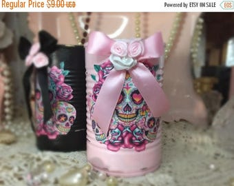 ON SALE Day Of The Dead Día de los Muerto Vase Centerpiece Home Decor Mexican Art Decoupage Painted Can Pastel Goth Gothic Skulls Shabby Chi
