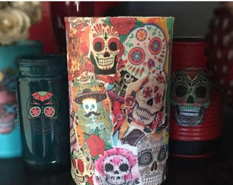 ON SALE Day of the Dead Día de los Muerto Collage Can Vase Centerpiece Wedding Party Decoration Home Decor Sugar Skull Halloween Gothic Goth