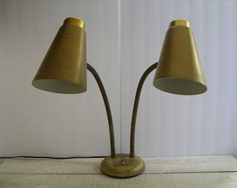 Vintage Gooseneck Desk Lamp ~ Mid Century Office Lighting ~ Gold Brass Double Task Light