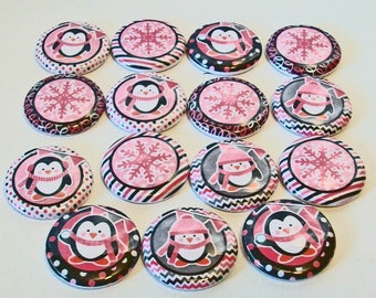 So Cute Pink Penguins Snowflakes Winter 1 Inch Flat Back Embellishments Buttons Flair Great for Bow Making