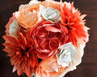 Paper Bridal or Bridesmaid Bouquet - Juliet Roses, Garden Roses, Dahlia, Peonies, with book page Roses - Orange, Coral, Blush, Cream