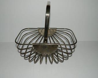 Vintage Metal Egg  Basket with fold down Handle