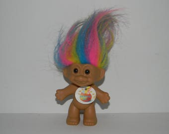 Vintage Russ Rainbow Hair Troll Doll 4""