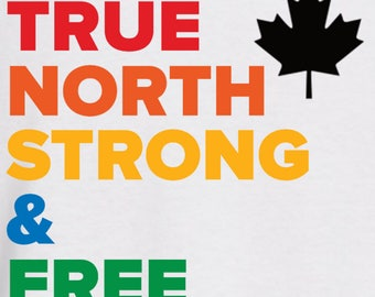 LQBTQ+ PRIDE T-Shirt - True North Strong & Free, Canada