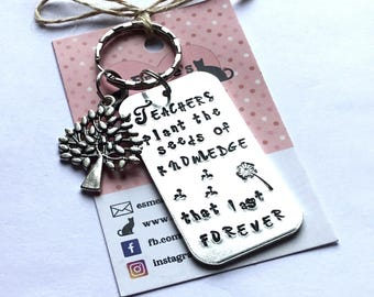 Teacher gift, TA gift, End of year gift, Hand stamped, Thank you gift, Gift for Her, Gift for him, UK seller,