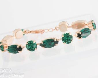 Emerald bracelet,crystal bracelet,Swarovski bracelet,Swarovski,Swarovski emerald,emerald birthstone bracelet,green jewelry,may birthstone