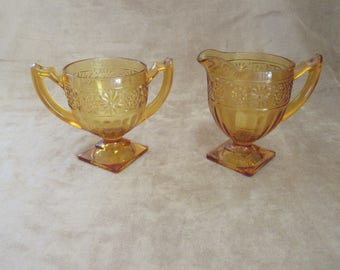 Vintage Amber Indiana Glass Daisy Creamer and Sugar Bowl