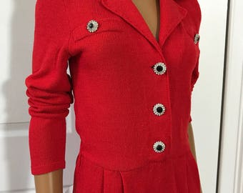 Jennifer Roberts Red Jumpsuit Sweater 1980s Size P