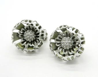 Vintage CORO Silver Tone Earrings, Floral Clip-ons