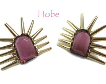 Hobe Starburst Earrings, Vintage Purple Glass Gold Tone Signed Hobe Pierced Stud Earrings, Gift for Her, Gift Boxed