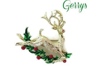 Vintage Brooch - Gerry's Reindeer Brooch, Gold Tone Signed Designer Deer Pin, Christmas Gift