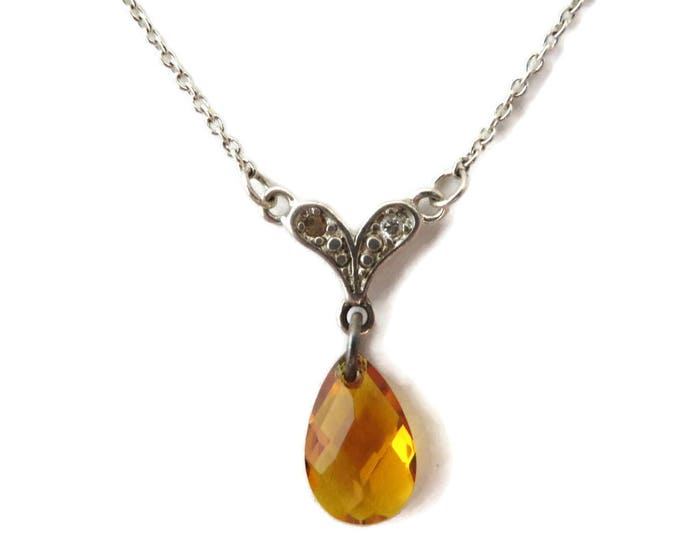 Vintage Citrine Pendant, Sterling Silver Necklace, Faceted Pear Shaped Citrine Sweetheart Necklace