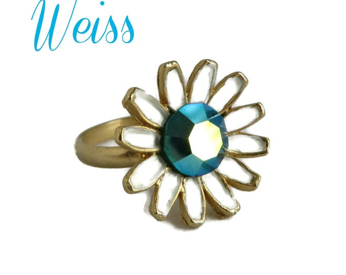 Weiss Daisy Ring, Vintage Enamel Flower Ring, Goldtone Adjustable Ring, Signed Weiss Jewelry, Free Shipping