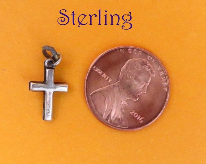 Sterling Cross Charm - Vintage Silver Religious Pendant, Starter Charm, Gift Idea
