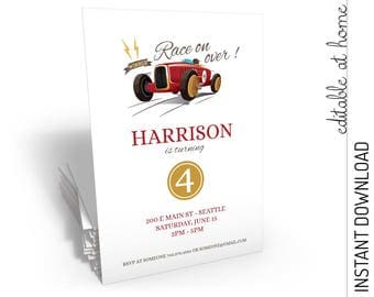 Race Car Invitation, Race Car Birthday Invitation, Race Car Party Invitation INSTANT DOWNLOAD you personalize at home