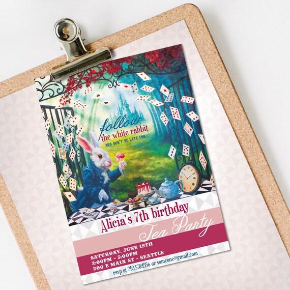 Alice in Wonderland Birthday Invitation INSTANT DOWNLOAD