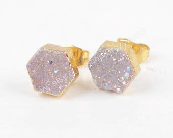 1Pair Pretty Gold Plated Hexagon Rinabow Natural Titanium Agate Druzy Stud Earrings Drusy Gemstone Post Earring Handmade Jewelry Studs G1275