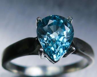 2.50ct Natural Paraiba blue zircon, pear cut 9ct 14k 18k 22k white yellow red Gold Platinum Palladium engagement ring all size
