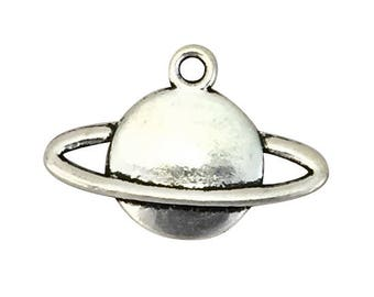 8 Silver Saturn Charm Planet Pendants 15x22mm by TIJC SP1621
