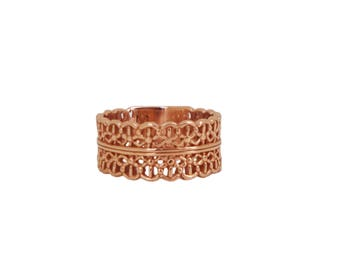 Pink Lace Crown openwork lace Crown in gold plated silver ring