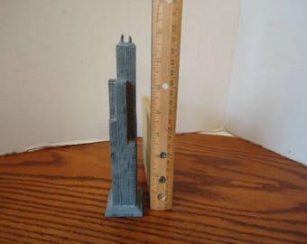 Metal Sears Tower Model  Tower Antennas Damaged