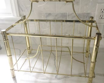 Faux Bamboo magazine rack hollywood regency