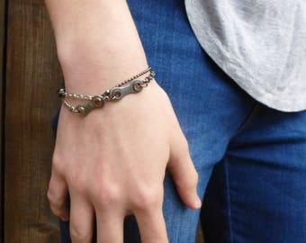 Upcycled bike chain bracelet BIRMINGHAM. Upcycled bike chain jewellery. Industrial minimalist bracelet. Gift for cyclists.