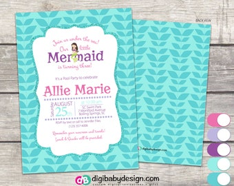 Mermaid Birthday Party Invitation, teal seagrass, pink and purple, Custom digital printable