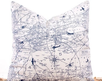SALE ENDS SOON Navy Blue Pillow Covers, Throw Pillows, Slip Covers, Cushions, Sofa Pillows, Nautical Map, 16 x 16""