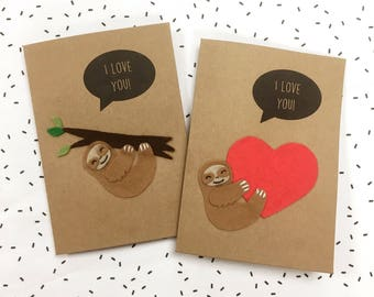 Felt Sloth Card - I Love You Card - Anniversary Card - Felt Card - Cute Sloth Card - Love Heart Card