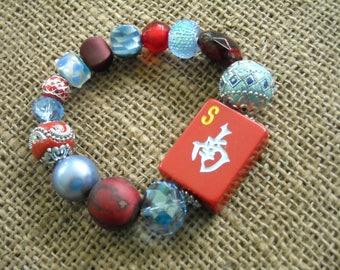 Mahjong Jewelry - Red and Blue Mahjong Bracelet - Gift Idea - Jesse James Beads Jewelry  - Mah Jong Gift - Oriental Bracelet