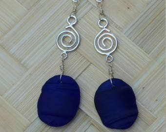 Cobalt blue seaglass and sterling silver earrings