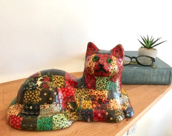 Vintage Large Ceramic Cat Figurine - Handmade - Paper Patch - Colorful - Eclectic - Mid Century - Whimsical