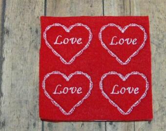 Love Heart felties, felt bookmark, felt paper clip, felt badge reel, key chain, hair bow center, hair accessory, feltie supplies