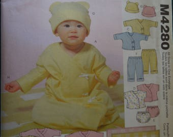 McCalls M4280, infants layette, stretch knits, UNCUT sewing pattern, craft supplies, small to x-large