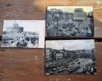 Three Vintage Italian Postcards Rome and Venice