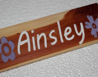 "Cedar Wood Carved ""Names on Wood"""