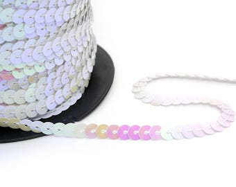 2 meters of Ribbon with sequins sewn shiny white sequins