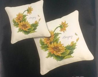 Large Crown sunflowers bouquet counted cross stitch Kit