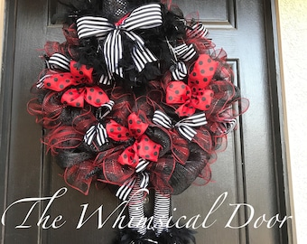 Halloween wreath Wicked Witch Wreath Witch Hat and Boots Halloween Wreath Red and Black Witch Wreath HUGE