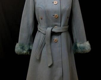 Vintage 1970s Coat Pale Blue with Faux Fur Cuffs